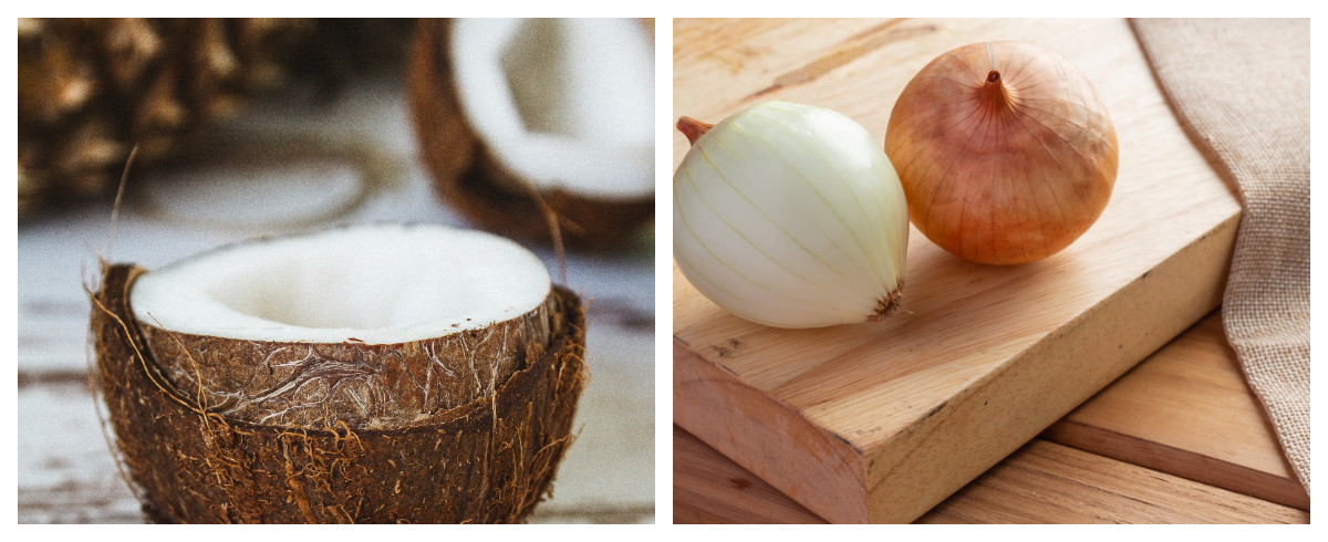 Collage photo of coconut and onions