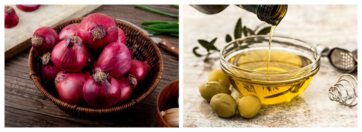 Collage photo of onions and olive oil