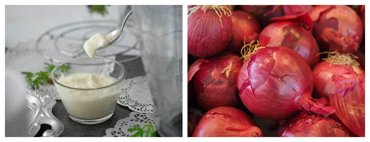 Collage photo of yogurt, and onions