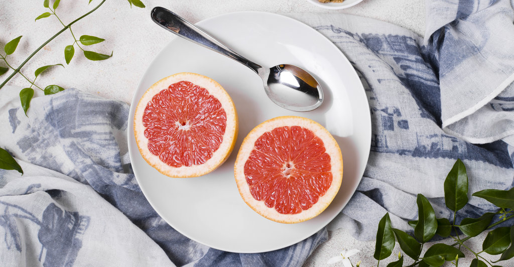 grapefruit halves on the plate