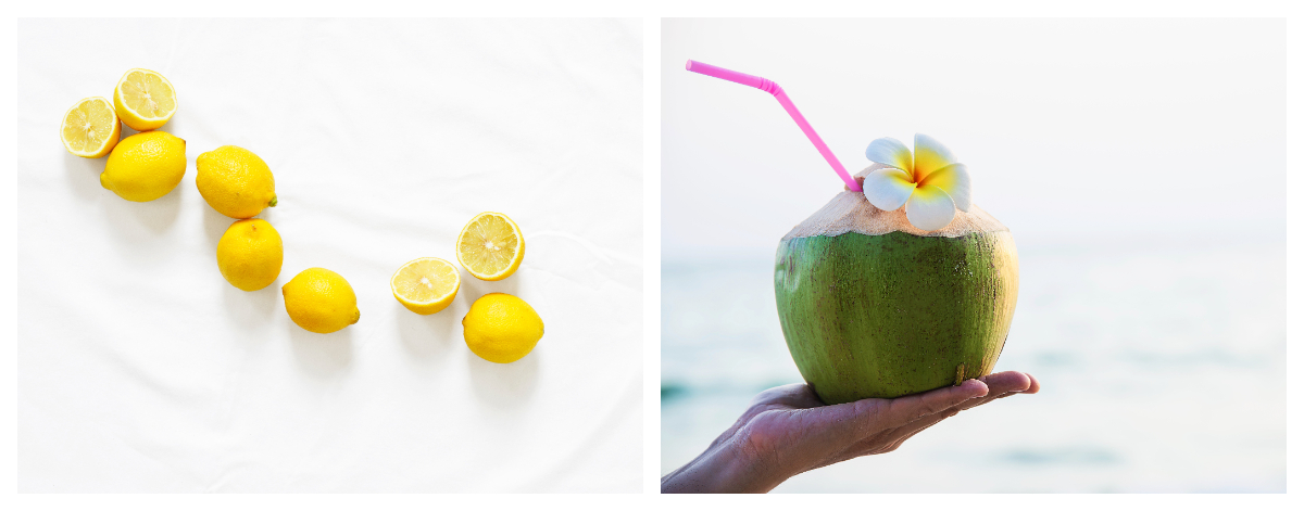 lemon and coconut water