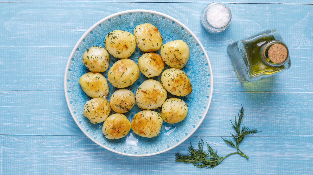 baked potatoes topped with dill